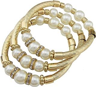 Coiris 3pcs Set Imitation Pearl Beads Rhinestone Bracelet Women Beaded Elastic Adjustable Size (BR1014)