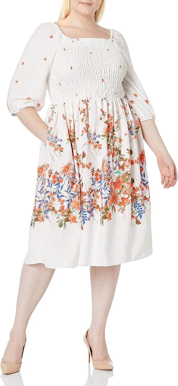 Gabby Skye Women's Plus Size 3/4 Sleeve Square Neck Smocked Bodice Floral Print Midi Crepe Babydoll Dress