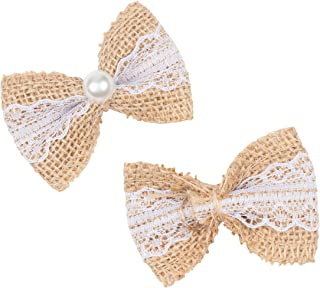 Genie Crafts 24-Count Lace Burlap Bows for Wedding Embellishments and DIY Crafts, 2.75 x 1.9 Inches