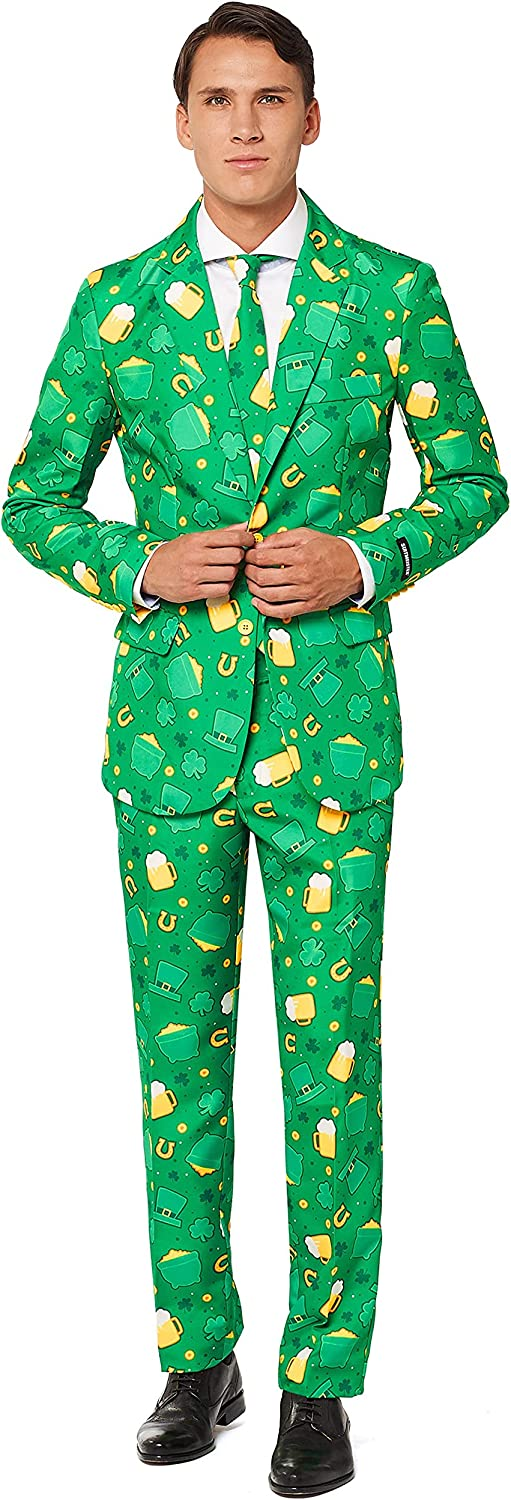 SUITMEISTER Patrick Clover Suit with Shamrock Print for Men Coming with Green Pants, Jacket, Tie