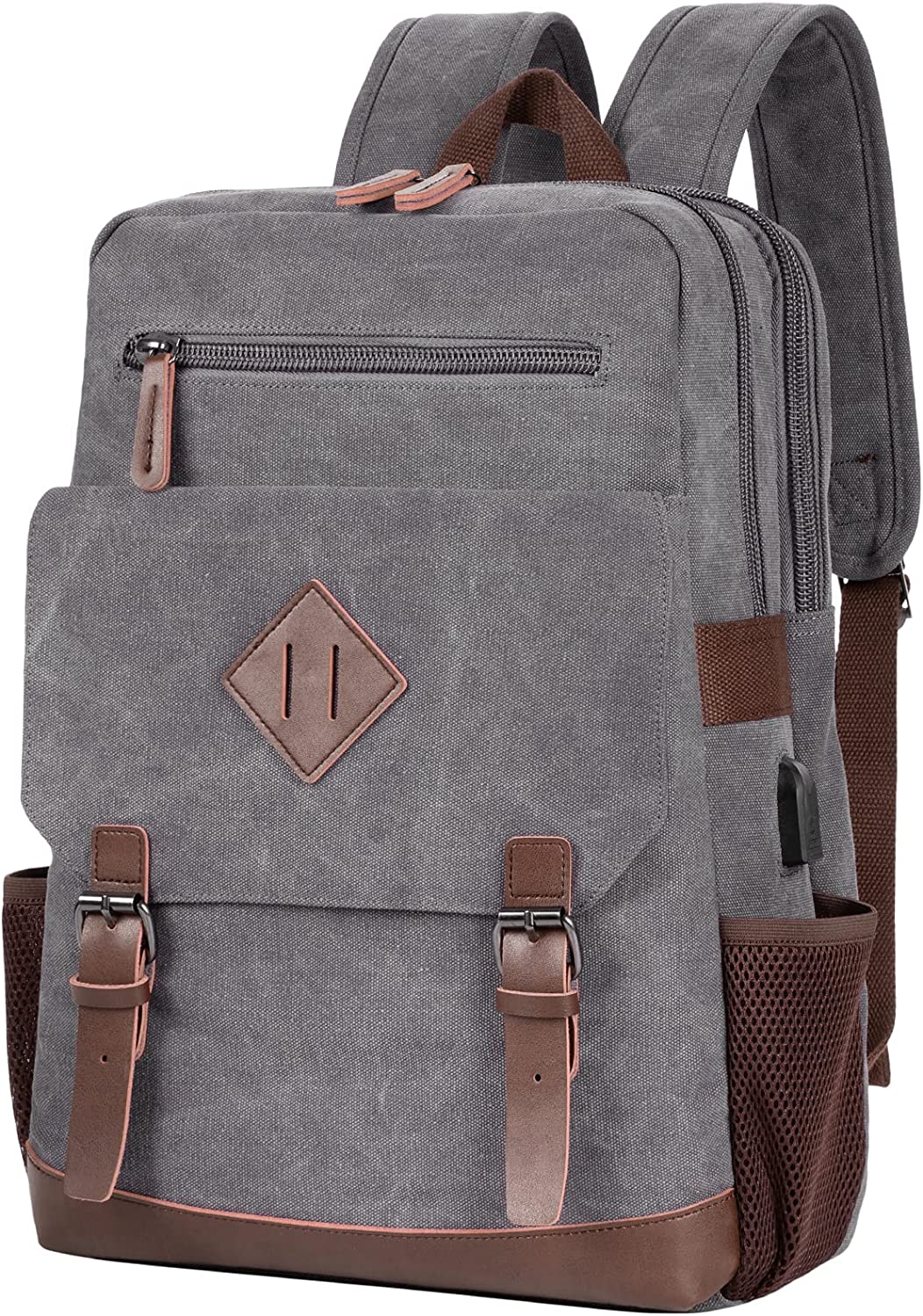 Modoker Vintage Backpack for Men Women, Canvas Bookpack Fits Most 15.6 Inches Computer and Tablets, Rucksack Backpack with USB Charging Port, Grey