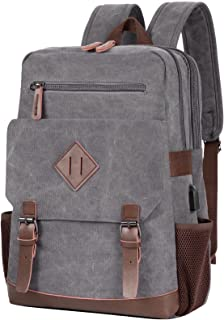 Modoker Vintage Backpack for Men Women, Canvas Bookpack Fits Most 15.6 Inches Computer and Tablets, Rucksack Backpack with...
