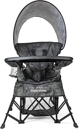 Baby Delight Go with Me Venture Chair|Indoor/Outdoor Portable Chair with Sun Canopy|Carbon Camo|3 Child Growth Stages...