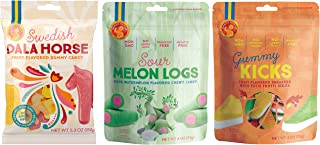 Candy People Swedish Gummy Candy – Sour Melon Logs, Dala Horse, and Gummy Kicks – Fruit Flavored Gummy Candy Pack of 3