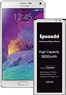 Galaxy Note 4 Battery,Eponadd 3800mAh Battery for Samsung Note4 N910 N910U 4G LTE N910V (Verizon) N910T (T-Mobile) N910A (AT&T) N910P (Sprint) [1 Year Warranty]