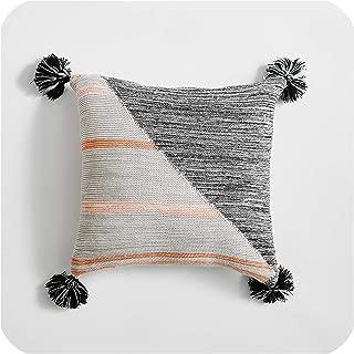 Solarphoenix Tassels Cushion Cover Grey Knit Pillow Case 4545cm Cushion Case Soft for Sofa Bed Nursery Room Decorative