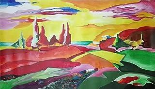 "Pintura Lienzo al Óleo Paisaje Abstracto Moderno ""OSCURO ROJO"" por DOBOS, Cuadro Original para Decoración del Hogar"