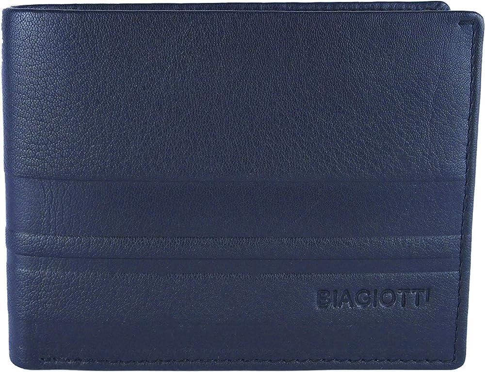 Laura biagiotti uomo, portafoglio , porta carte di credito in vera pelle, Blu 21s-763