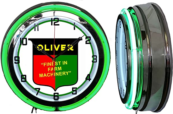 Checkingtime 19 Oliver Tractors Neon Clock Two Neon Tubes GREEN Outside Tube