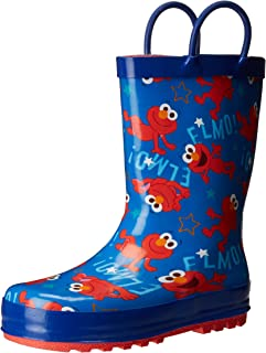 Sesame Street Boys' Kid's Character Licensed Rain Boot Blue Dual Shoe Size 7/8 Child US Toddler