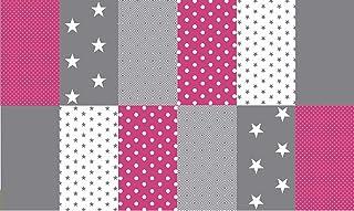 Stoffpaket Patchwork Baumwollstoffe 12 x 25x35cm pink grau weiß - Stoffe - Punkte, Sterne, Rauten, Pünktchen, Sterne