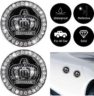 OIIKI 2PCS 3D Crown Car Emblem Badge Decal, Bling Diamond Metal Princess Crown Emblems Badges Bumper Stickers, Men Women A...