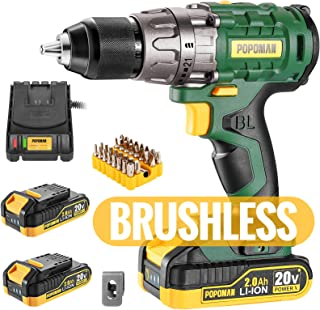 "Cordless drill, Brushless 20V 1/2"" Drill Driver, 2x2000mAh Batteries, 530 In-lbs Torque, 21+1 Torque Setting, Fast Charger..."