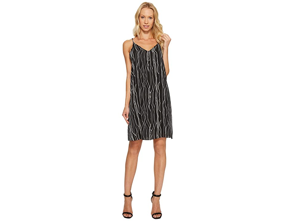 Vince Camuto Electric Lines Tank Dress w/ Invert Pleat (Rich Black) Women