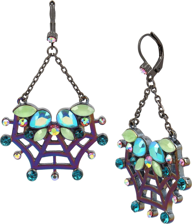 Betsey Johnson Spider Web Drop Earrings