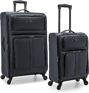 U.S. Traveler Anzio Softside Expandable Spinner Luggage, Dark Grey, 2-Piece Set (22/30)