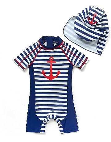 ba0e8d03ef1 [Bonverano] ラッシュガード 水着 男の子 半袖 UPF50+ UVカット 0-3歳 ワンピース
