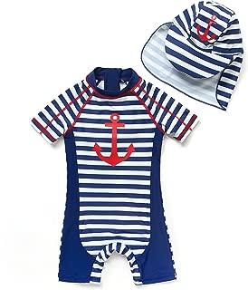 BONVERANO Baby Boys' UPF 50+ Short Sleeve Sun Protection Swimsuit