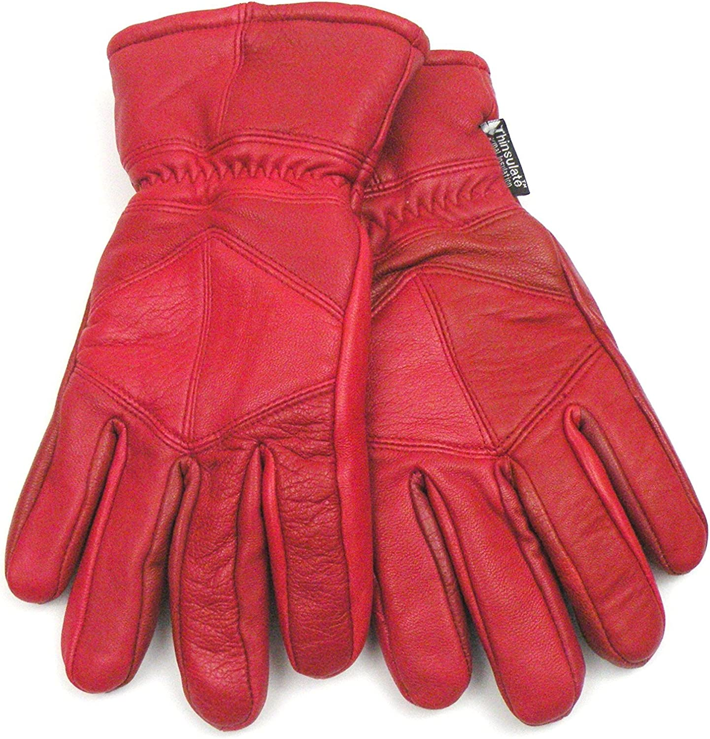 Red Thinsulate Lined Leather Gloves Size Large