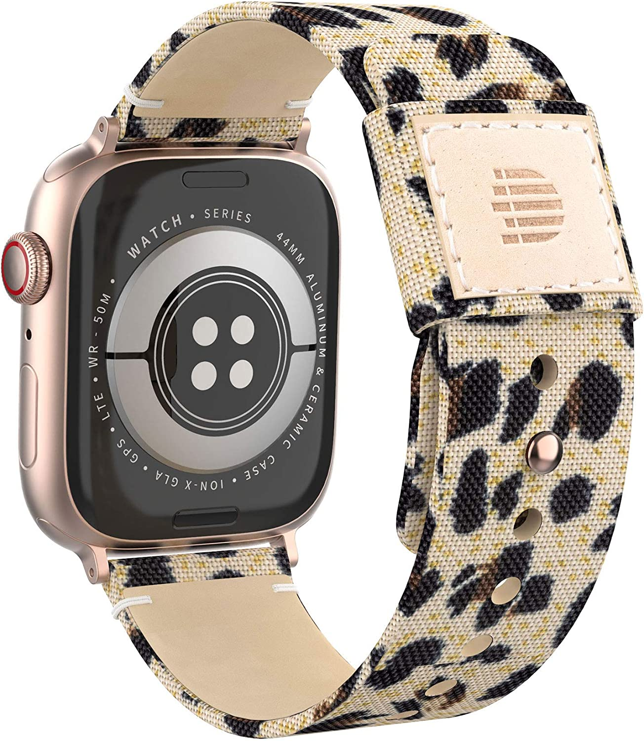 Dowsabel Cute Bands Compatible with Apple Watch 38mm 40mm 42mm 44mm, Fabric Cloth Canvas Strap with Soft Genuine Leather Lining Replacement for iwatch Series SE 6 5 4 3 2 1 (42/44mm, Leopard)