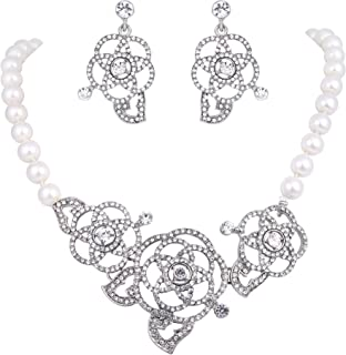 Clearine Women's Wedding Bridal Crystal Simulated Pearl Rose Flower Statement Necklace Dangle Earrings Set Clear Silver-Tone