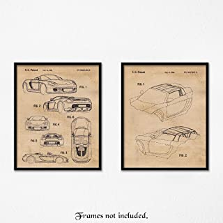 Original Porsche Carrera GT Patent Poster Prints, Set of 2 (8x10) Unframed Photos, Wall Art Decor Gifts Under 15 for Home, Office, Garage, Man Cave, College Student, Teacher, Germany Cars & Coffee Fan
