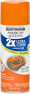 Rust Oleum 280698 American Accents Ultra Cover 2X Spray Paint, Gloss Real Orange, 12-Ounce