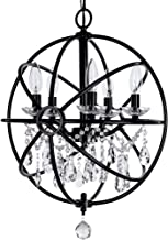 Amalfi Decor 5 Light Orb Crystal Beaded Chandelier, LED Cage Wrought Iron K9 Glass Pendant Light Fixture Contemporary Nursery Kids Room Dimmable Plug in Hanging Ceiling Lamp, Black