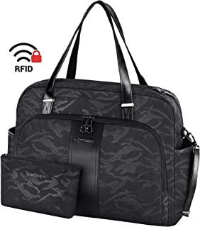 "KROSER Laptop Tote Bag 15.6"" Stylish Shoulder Bag Water-Repellent Large Travel Bag with RFID Pockets for Work/Business/School/College/Women-Camouflage Black"