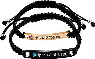 Uloveido Ensemble de bracelets assortis en titane et acier inoxydable pour elle et lui avec plaque d'identité faite à la m...