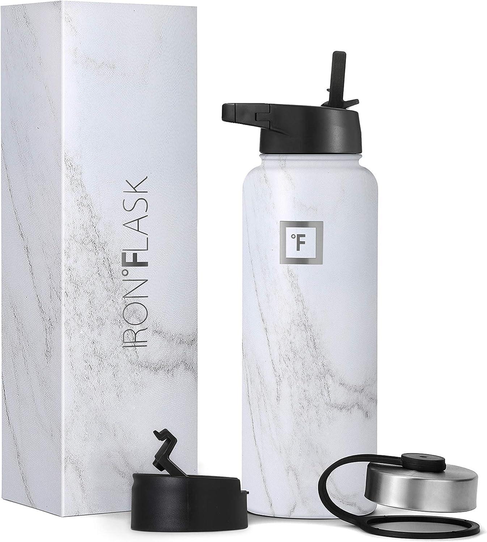 IRON °FLASK Botella De Agua De Deportes, 3 Tapas (Tapa Paja), El Vacío Aislado Acero Inoxidable, Caliente Y Fría[mármol de Carrara][40 oz]