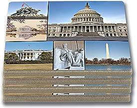 EXIT82ART - Stone Drink Coasters (Set of 4) - Washington D.C. Iconic Landmarks. Tumbled Stone, Cork-Backed.