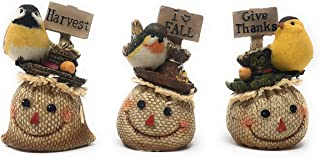 Hanna's Handiworks Set of 3 Tabletop Fall Friend Birds Fall Signs Collection Burlap Straw Look 4.5 x 2 x 3 inches Each