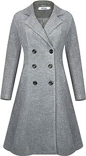 APTRO Women's Winter Wool Trench Coat Double Breasted Long Pea Coat