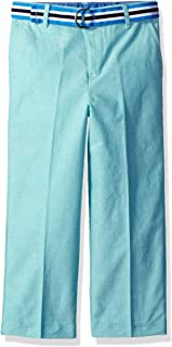 IZOD Boys' Belted Chambray Flat Front Dress Pant