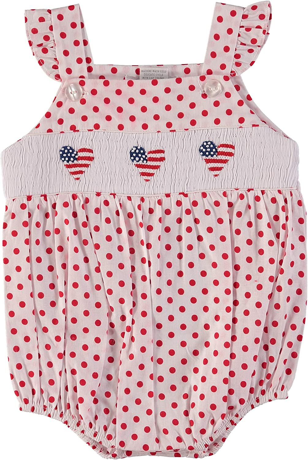 Baby Girl Bubble Hand Dallas Mall Smocked American Colorado Springs Mall Flags Polka on Dots Red