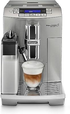 De'Longhi Prima Donna Fully Automatic Espresso Machine with Lattecrema System, 9.4 x 17.4 x 13.6, Silver