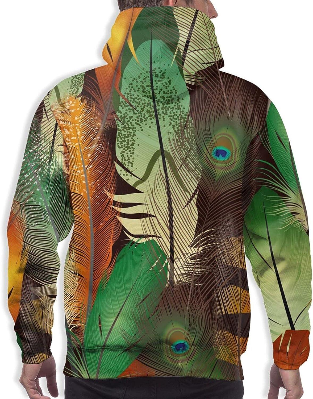 Hoodie For Men Women Unisex Green Orange Feathers Double-Sided 3d Sweatshirt Hoodie