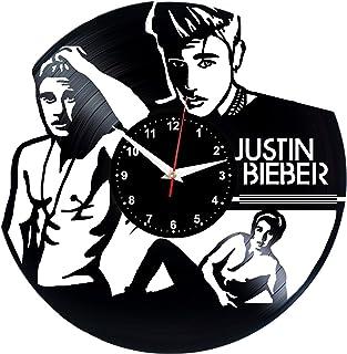 JUSTIN BIEBER Reloj De Pared Vintage Accesorios De Decoración del Hogar Diseño Moderno Reloj De Vinilo Colgante Reloj De Pared Reloj Único 12