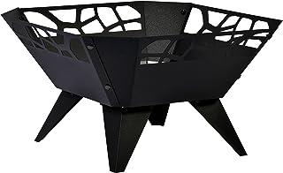 dobar Feuerschale, Feuerstelle, Design für Garten Balkon Terrasse, viereckig für draußen, Stahl pulverbeschichtet, schwarz, 51.5 x 51.5 x 30 cm, 35416
