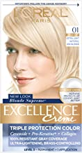 L'Oreal Paris Excellence Creme Permanent Hair Color, 01 Extra Light Ash Blonde, Pack of 1 100% Gray Coverage Hair Dye