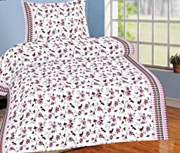 Trance Home Linen 100% Cotton 180TC Printed Single Fitted Bedsheet with 1 Pillow Cover (Wine Floral)