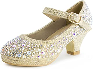 Link Dana 58K 小女孩水钻高跟鞋银色