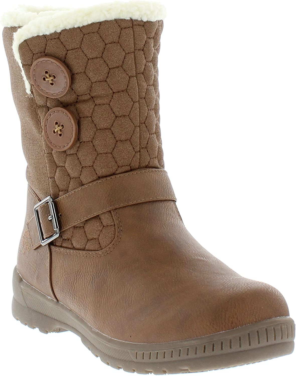 totes Women's Cold Weather Circle Pull-On Waterproof Insulated Mid-Calf Winter Boots for Comfort