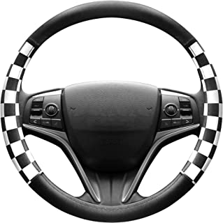 FINEX PU Leather Checker Flag Black & White Car Steering Wheel Cover Auto Car Accessories
