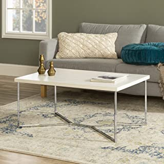 WE Furniture Mid Century Modern Gold Rectangle Coffee Table, 42 Inch, White Marble, Silver