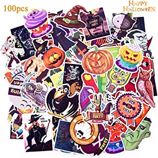 HONZZ Halloween Stickers, 100 pcs Self Adhesive Luggage Car Vinyl Decal Stickers for Happy Halloween Party Decoration - Waterproof