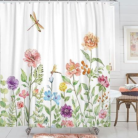 Kanuyee Fabric Floral Shower Curtain,Garden Dragonfly Shower Curtains for Bathroom, Bath Curtain Modern Bathroom Accessories Waterproof with Standard Size 72 x 72