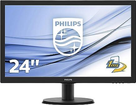 """Philips Monitor 243V5LHAB Gaming Monitor 23.6"""" LED Full HD, 1920 x 1080, 250 cd/m², 1 ms Audio Integrato, Multimediale, HDMI, DVI, VGA, Attacco VESA, Nero - Confronta prezzi"""