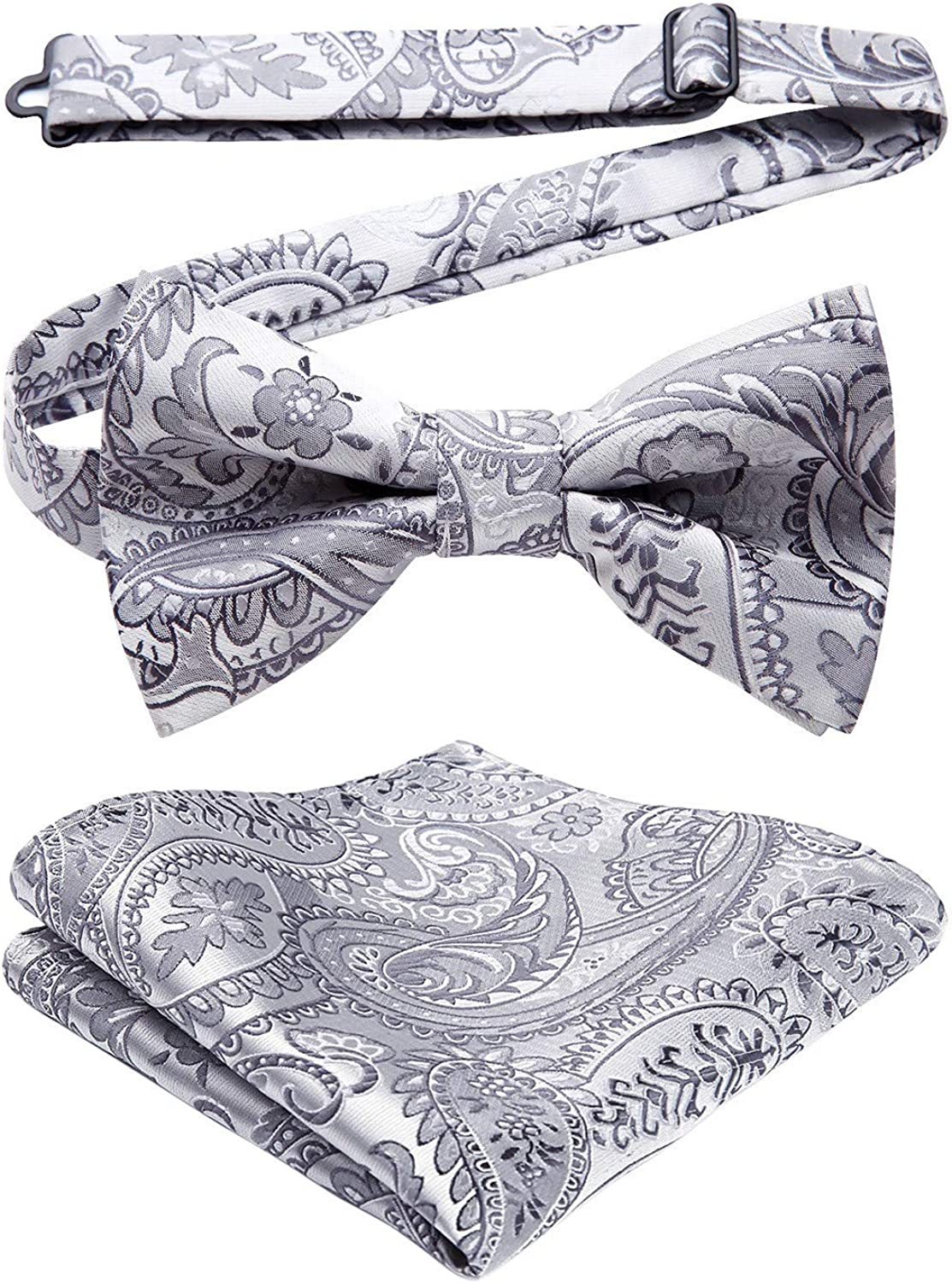 Bow Ties for Men Paisley Pre-Tied Bow Tie and Pocket Square Set Classic Formal Bowties for Wedding Party Adjustable